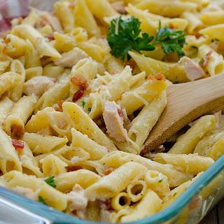 Chicken Carbonara Pasta Bake.