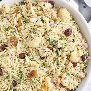 Orzo Salad with Roasted Cauliflower, Pine Nuts, and Parsley.