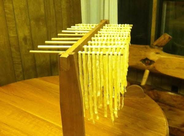 Homemade Noodles On The Homemade Drying Rack!
