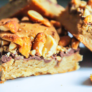 Chewy Peanut Butter and Nutella Cookie Bars.