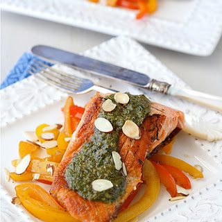 Seared Salmon with Pesto, Sauteed Peppers & Toasted Almonds