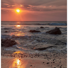 Scottish Beach by Chris Duffy - Landscapes Sunsets & Sunrises ( waves, sand, sunrise, seascape, sunrises, pebbles, rocks, beach, clouds, sun, sea )