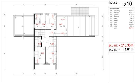 House X10 - drewno HBE - Rzut poddasza