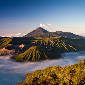 Mt. Bromo, East Java by Agung A - Landscapes Mountains & Hills ( sky, mountain, blue, indonesia, asia, shrub, java, travel, landscape, morning, bromo, dusk )