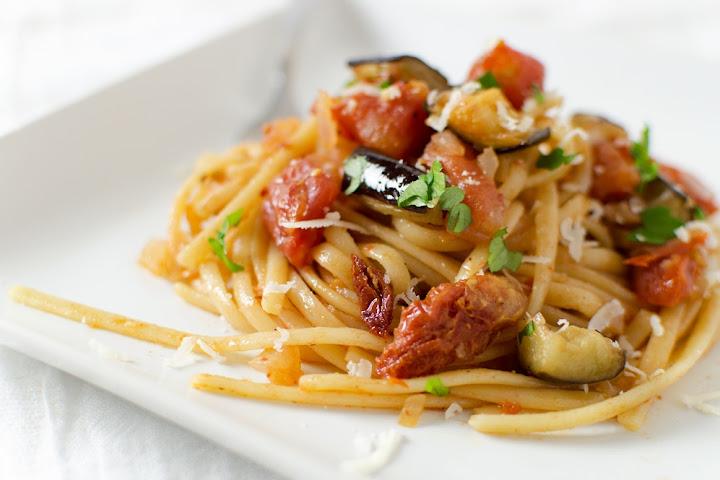 Roasted Eggplant & Sun-Dried Tomato Pasta