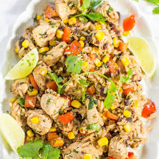 Lime Cilantro Chicken with Mixed Rice and Black Beans.