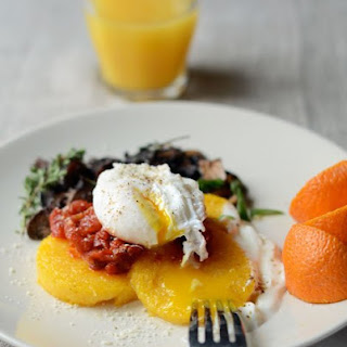 Eggy, Crispy Polenta with Tomatoes & Mushrooms.