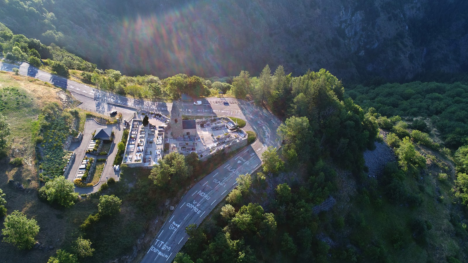 Cycling Alpe d'Huez - Dutch Corner from aerial drone view