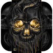 Download App Gold Black Horrific Skull Theme