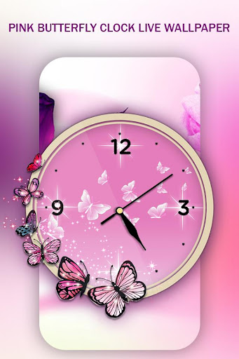 Descargar Pink Butterfly Clock Live Wallpaper 10 Android