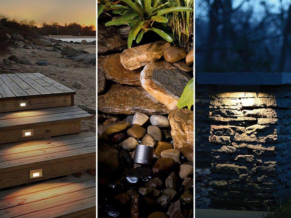 Mua sắm WAC Lighting LEDme LED100 Step and Deck Light - WL-LED100F-AM-WT, Kichler Landscape LED Water / Accent Light - Màu: Bạc / Thép không gỉ - 15711SS, Đèn LED chiếu sáng cảnh quan Đèn LED dải Hardscape của WAC Lighting và hơn thế nữa