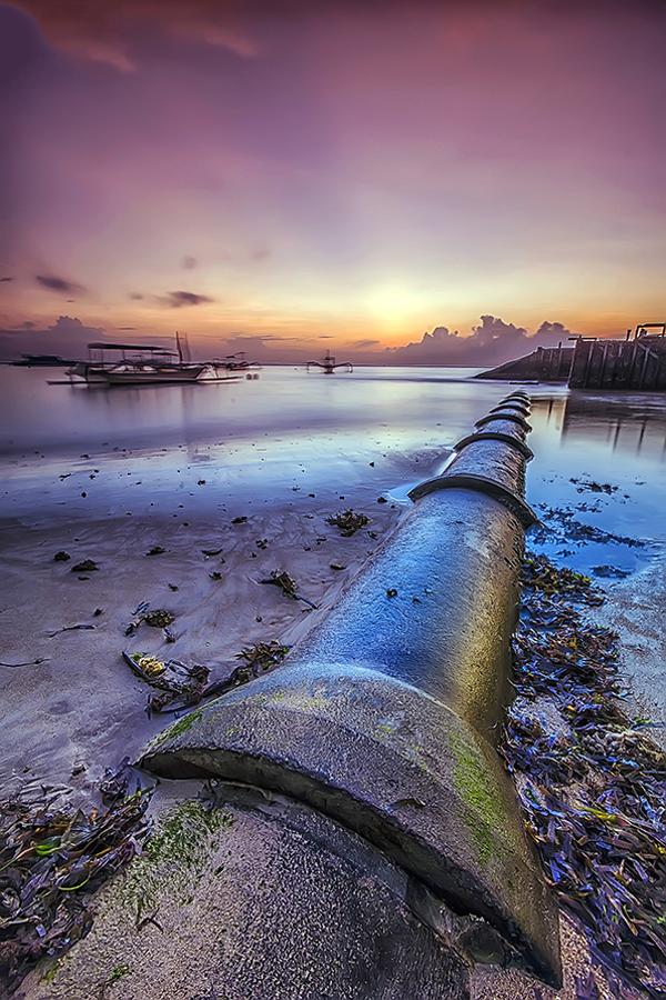 Old Pipe by Boim Wahyudi - Landscapes Waterscapes ( bali, waterscape, sunset, sanur, sunrise, beach, landscape )