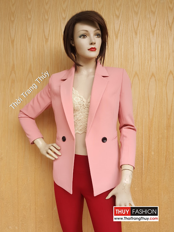 Áo vest nữ dáng dài cổ cơ bản màu hồng thạch anh V478 tại Hải Phòng