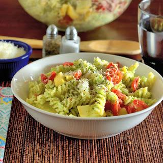 Fusilli Primavera with Broccoli Pesto.