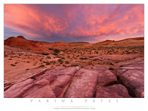 Photo: Fire in the Valley of Fire  Crazy-beautiful skies create a color cast than enhances the brilliant colors at Valley of Fire State Park in Nevada.  Thanks to those who share my work. I appreciate your efforts to help me find a wider audience.  The ground really is a brilliant pink in the Valley of Fire - at least in this spot. In other places, it's bright orange, or crazy yellow, or smooth white. Spots and stripes and bumps and curves make it even more incredible. But the skies on this particular night were just as breathtaking.  It's hard to get the colors right when you are shooting in the place like this. The default color balance settings in the RAW converter just can't handle unusual lighting conditions - so it comes down to remembering the scene as it was. Are my settings just right? Probably not - but they are as close as I can get to the reality of the scene as I remember it.  It's important to realize that color casts are sometimes real - removing the cast would actually make the image feel wrong to the viewer. If the blinds in my bedroom are half-lowered, I can see only the street outside my window... not the sky. In the evenings sometimes, I'll look out through those half lowered blinds and see that the street is an odd color - there's a hint of magenta that wasn't there before. When that happens, I'll pull up the blinds or step outside because I know that the sky must be amazing. And it always is. That color cast is quite real - and I want it to remain in my image.  So on a night like this one, the sky was actually enhancing the colors on the ground. The color shift isn't always subtle - at least to someone who is used to looking for it - and in this case, the beautiful pinks stood out even more as they reflected the light from the sky.  Have you seen the color casts I'm talking about? Sometimes it's magenta, sometimes golden... but always beautiful! :)