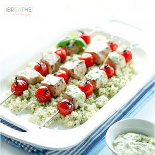 Low Carb Grilled Swordfish Skewers with Pesto Mayo.