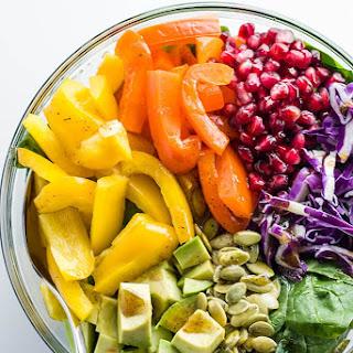 Rainbow Salad with Pomegranate Vinaigrette (Paleo, Low Carb).