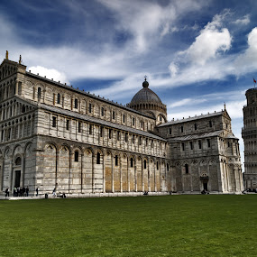 Pisa, Italy by Peter Greenhalgh - Travel Locations Landmarks ( clouds, leaning tower of pisa, blue sky, cathedral, pisa, wide-angle, duomo, italy )
