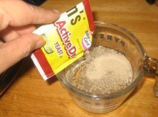 Third Step:  Mix the following:  1 Package of yeast in 1/2 C warm water then add...