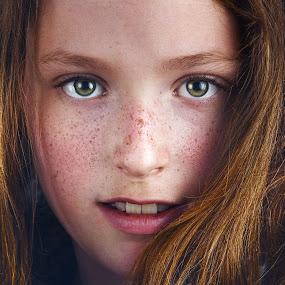 freckles by Christoph Reiter - Babies & Children Child Portraits ( freckles, blonde, girl, hail )