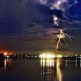 Thunder storm by Sam Moshavi - Landscapes Weather ( thunder, bali, sanur, weather, sunrise, storm, morning )
