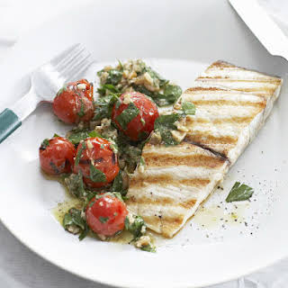 Grilled Cod with Tomato, Caper and Walnut Dressing.