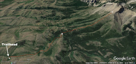 Photo: A - The trailhead is 22 miles west of Choteau, MT. The trail follows a Jeep trail until B. B - Go off-trail here and head up the ridge. The bush-wacking is not bad, and it thins out quickly. C - This is where you have to decide whether you are going up and over the shoulder, or turning right and going around it.