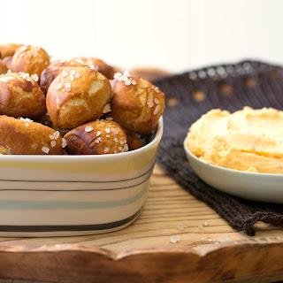 Pretzel Bites with Quick Cheddar Dip recipe | Epicurious.com.