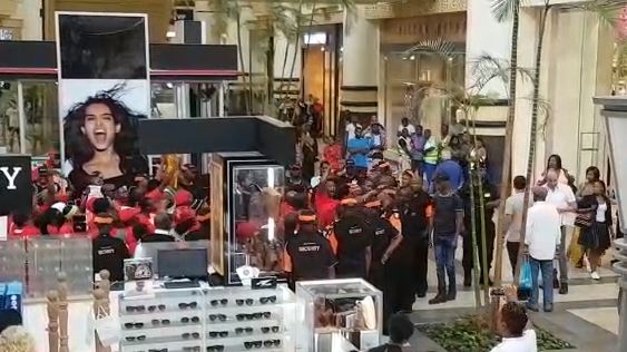 EFF protesters outside the H&M store at Gateway Mall in Umhlanga.