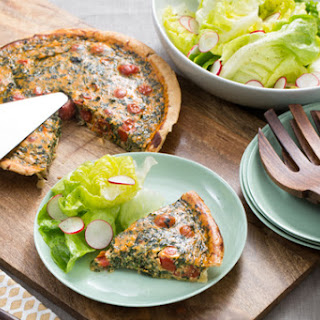 Spinach & Cherry Tomato Quiche with Butter Lettuce & Radish Salad