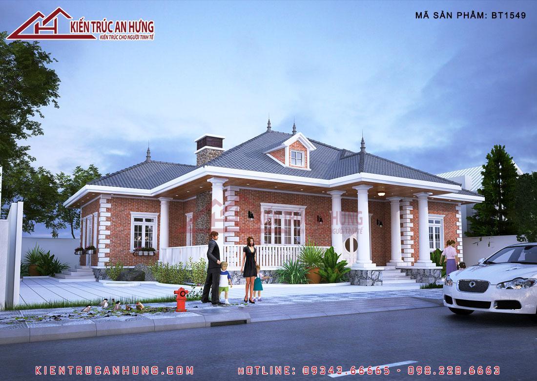 Căn biệt thự 1 tầng 4 phòng ngủ với thiết kế mang nét đặc trưng của kiến trúc nhà 3 gian bắc bộ truyền thống