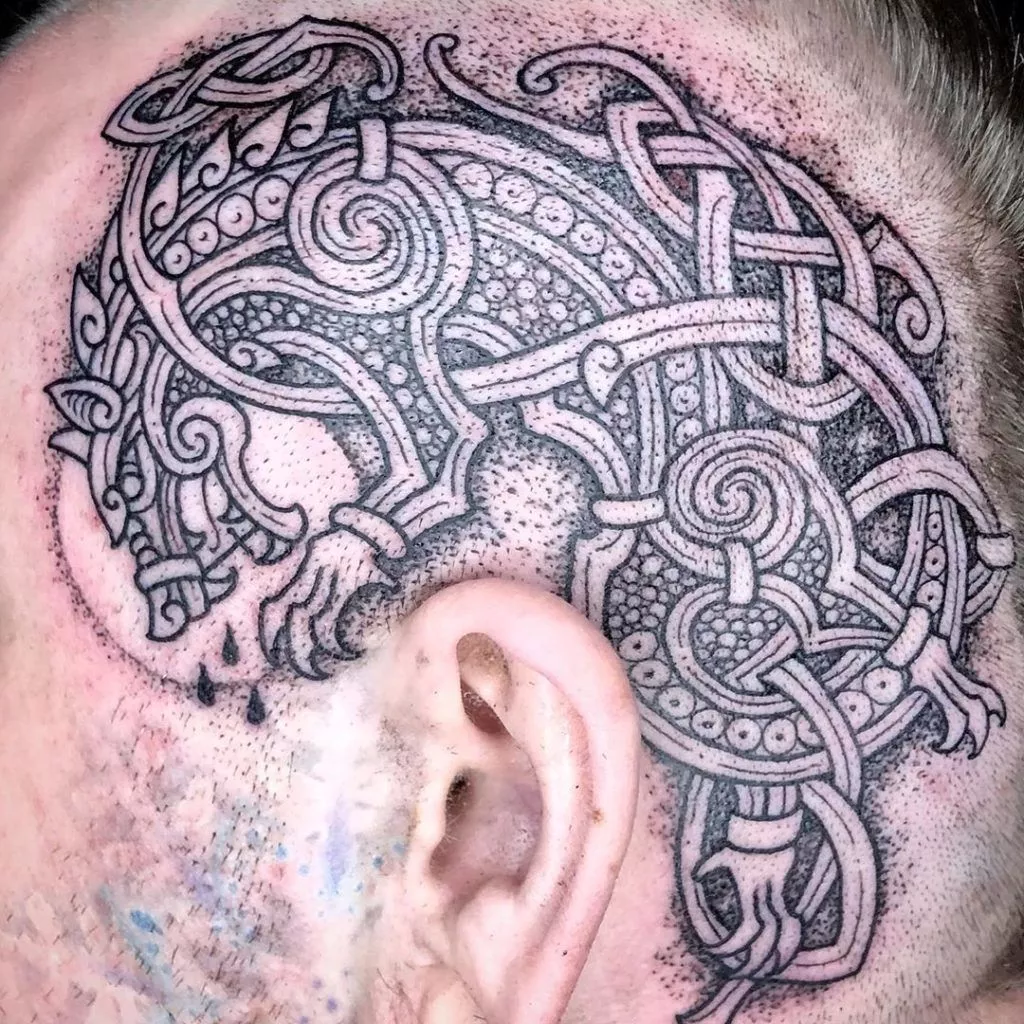 Traditional Fenrir Tattoo on Head