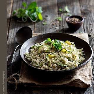 Herbed Roasted Cauliflower Rice with Coriander and Grilled Zucchini.