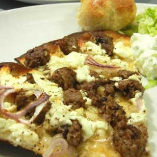 Homemade Spicy Lamb Pizza with Cooling Tzatziki Salad