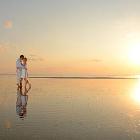 Walking on Air by Andrew Morgan - Wedding Bride & Groom ( sunset sea wedding zanzibar paradise love )