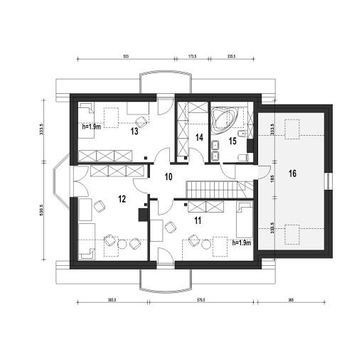 Dom Dla Ciebie 1 w4 z garażem 1-st. A - Rzut poddasza