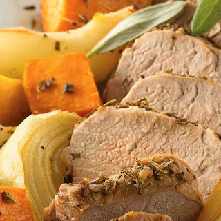 Roasted Pork Tenderloins with Sweet Potatoes and Pears.