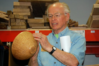 Photo: Phil talked about this bowl given to him by this year's ITE (International Turning Exchange) class as a very personal 'thank you' for housing them, getting them to different local collections, and sending them home with a truck full of wood.  The bowl was turned by Ben Carpenter and textured by Malcolm Martin.