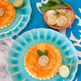 Key Lime Cheesecake Flans and Candied Lime Slices Recipe
