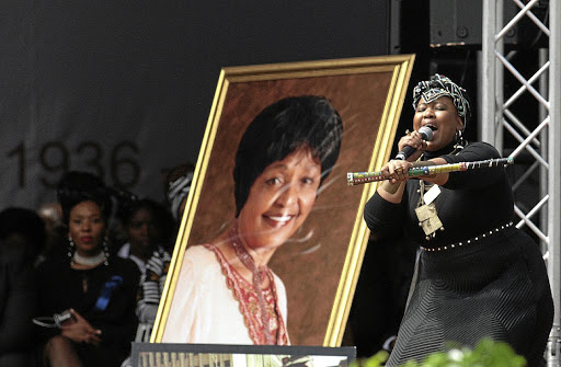 Thandiswa Mazwai performing at Orlando stadium Winnie Madikizela-Mandela's funeral service in Soweto.