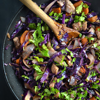 Red Cabbage, Sweet Potato, and Chicken Stir Fry.