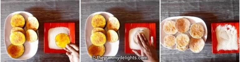 Coating each brinjal slice with rava/suji/semolina