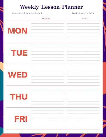 Lined Lesson Planner - Planner template