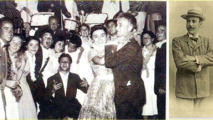 Noche de fiesta y baile en el Casino de Dalías, entre los que se ve a Serafín Rubio. A la derecha, Enrique Marín Ruiz, presidente fundador.