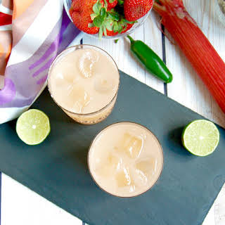 Spicy Strawberry Rhubarb Margaritas.
