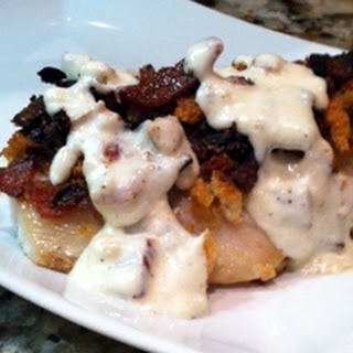 Bacon Crunch Topped Mahi Mahi Topped with Cream Sauce