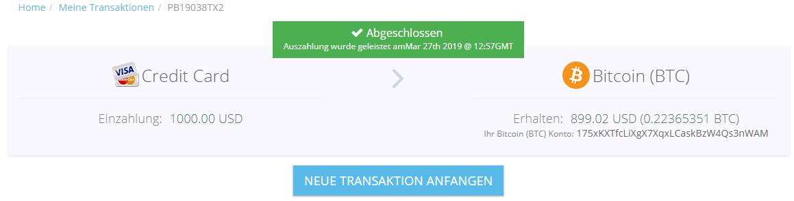 Paybis die Transaktion war erfolgreich