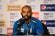 Temba Bavuma of South Africa speaks to media after the day 3 of the 2nd Test match between India and South Africa at Maharashtra Cricket Association Stadium on October 12, 2019 in Pune, India.