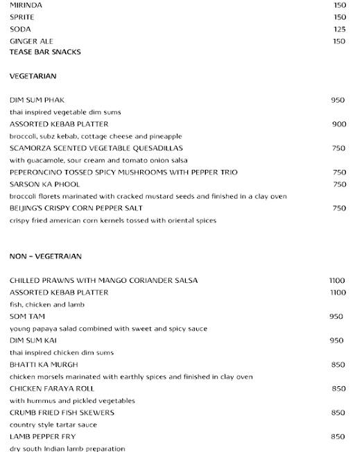 Tease, Vivanta By Taj menu 2