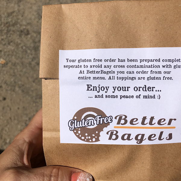 Gf Bagel sandwich cane in gf labeled packaging and wrapper